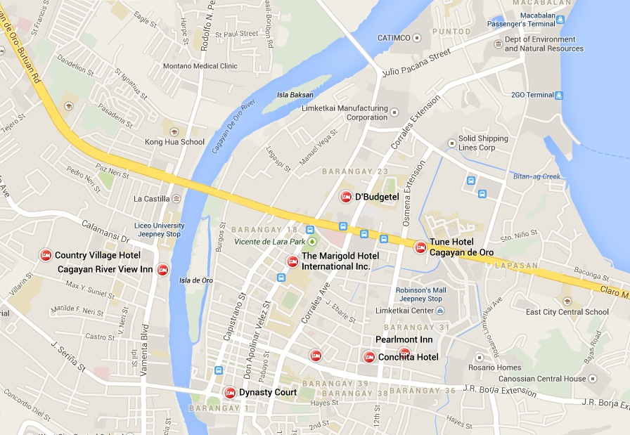 Cagayan de Oro Map for Hotel, Pension House, Inns