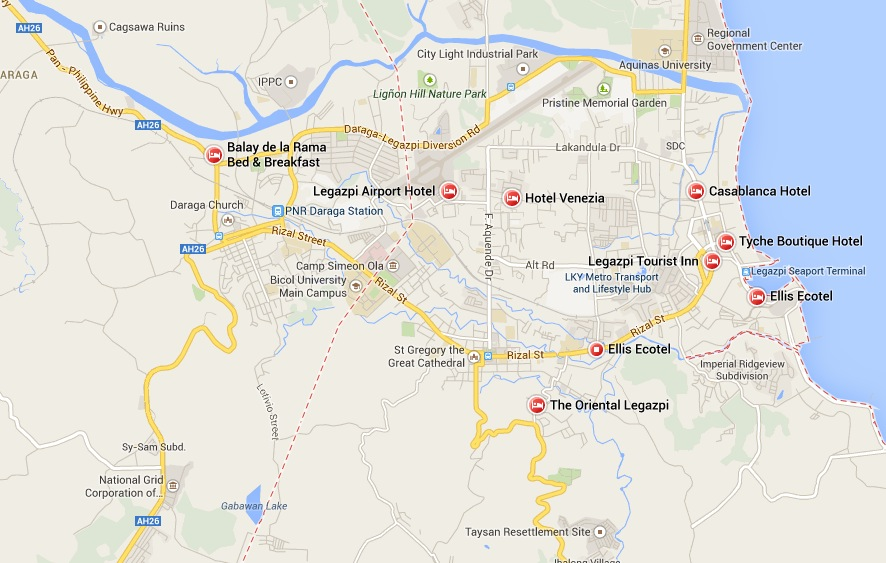 Legazpi City Map for Hotels, Pension Houses and Inns